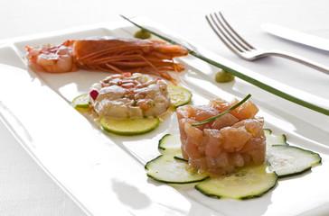 Three seafood tartare close up