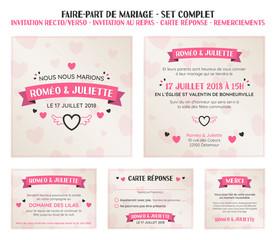 faire-part invitation de mariage - set complet