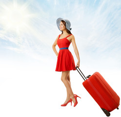 Woman Pulling Red Suitcase Baggage, Young Girl in Hat Summer Dress Carry Luggage over Blue Sky