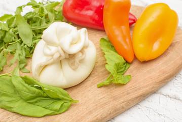 burrata cheese, fresh pepper and basil