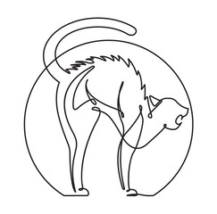 Door stickers One Line Art Scared Cat Continuous Line vector Cartoon