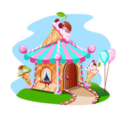 Fairy house out of ice cream with cherries. Delicious vector illustration.