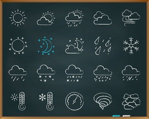 Weather chalk draw line icons vector set