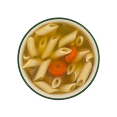Penne pasta soup in a bowl on a white background.