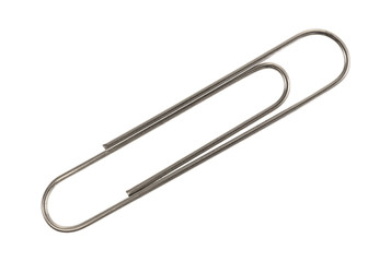 Metal paper clip on a white background.