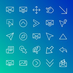 Modern Simple Set of arrows, cursors, email Vector outline Icons. Contains such Icons as  web,  sign, arrow,  down,  hand, diagonal, up and more on gradient background. Fully Editable. Pixel Perfect.