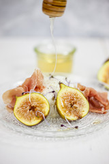 Figs with mozzerella & honey