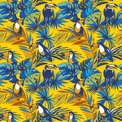 Keuken foto achterwand Toekan Seamless pattern ink Hand drawn Tropical monstera banana palm leaves, flowers, toucan birds. Greeting card, invitation for summer beach party, flyer, textile print. Illustration. Grunge design