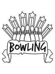 banner text feld sterne clipart reihe treffer bowling pins umwerfen strike sport verein team crew punkte spaß kugel bahn