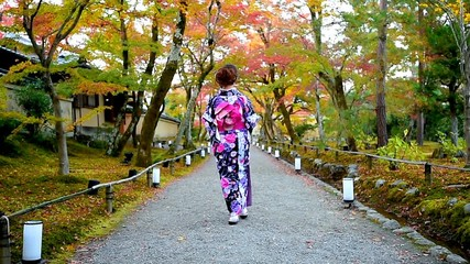 Wall Mural - Asian woman wearing japanese traditional kimono walking in autumn park, Kyoto in Japan.
