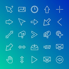 Modern Simple Set of arrows, cursors, email Vector outline Icons. Contains such Icons as  arrow, hand,  down,  previous,  click,  next and more on gradient background. Fully Editable. Pixel Perfect.