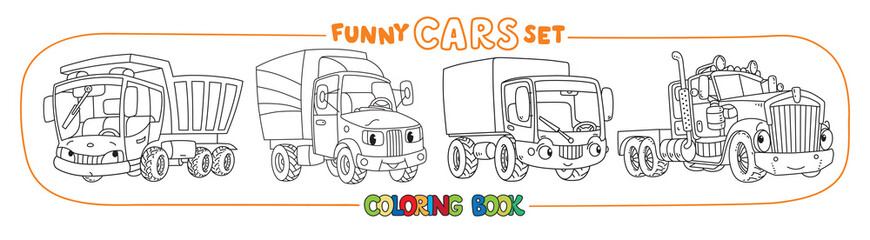 Funny cars or trucks with eyes. Coloring book set