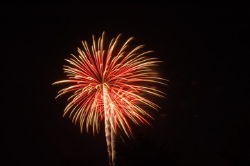 fireworks going off at night in the summer time