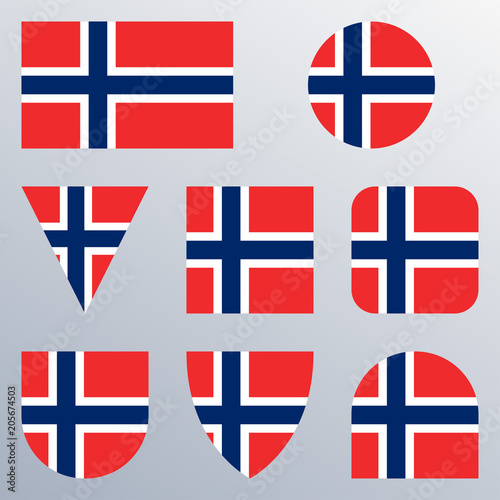 Norway flag icon set  Norwegian flag button or badge in different