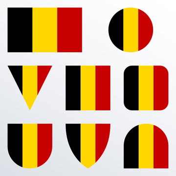 Belgium flag icon set. Belgian flag button or badge in different shapes. Vector illustration.