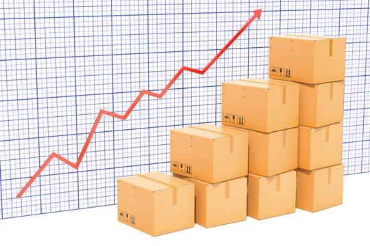 Chart of increasing exportation and shipping, growing chart. 3D rendering