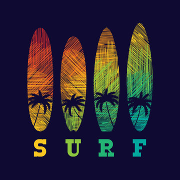 Surf typography poster. Concept for print production. T-shirt fashion Design.