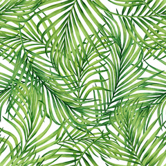 Foto op Plexiglas Tropische Bladeren Watercolor painting coconut,palm leaf,green leave seamless pattern background.Watercolor hand drawn illustration tropical exotic leaf prints for wallpaper,textile Hawaii aloha jungle style pattern.