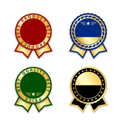 Ribbon award best price labels set. Gold ribbon award icons isolated white background. Best quality golden label for badge, medal, best choice, certificate guarantee product. Vector illustration