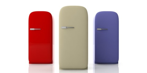 Vintage fridges various colors isolated on white background, front view. 3d illustration