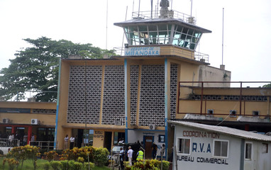 A general view shows the passenger terminal at the airport in Mbandaka