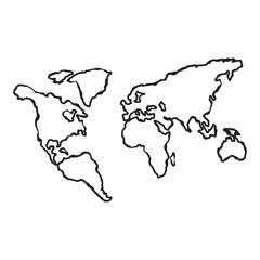 World map globe line hand sketch doodle illustration. Vector.