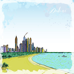 Watercolor sketch of monorail ride view from window at The Palm Jumeirah skyscrapers at Dubai Marina. Media City and beach coast with luxury yachts and sand beaches at United Arab Emirates. Vector.