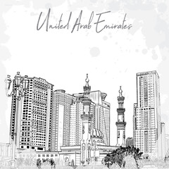 Hand drawn sketch of Mosque with skyscrapers in Dubai Marina district, UAE. Illustration, vector.