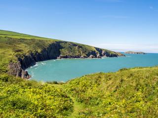 Beautiful summer sunshine at Whitesands Bay, St Davids Peninsular, Pembrokeshire, UK