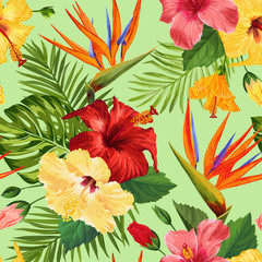 Watercolor Tropical Flowers Seamless Pattern. Floral Hand Drawn Background. Exotic Blooming Flowers Design for Fabric, Textile, Wallpaper. Vector illustration