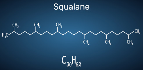 Squalane molecule. It is used in cosmetics as emollient and moisturizer Structural chemical formula and molecule model on the dark blue background