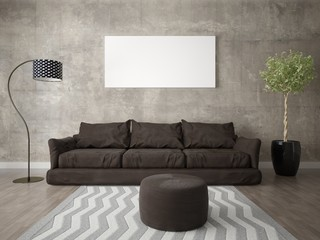 Mock up a modern living room with a comfortable brown sofa and an extravagant background.