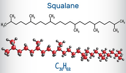 Squalane molecule. It is used in cosmetics as emollient and moisturizer Structural chemical formula and molecule model