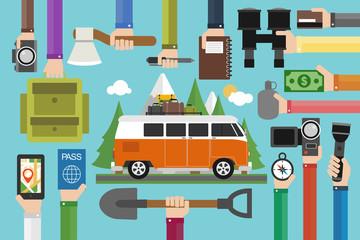 Camping travel design flat set with minibus.Vector illustration