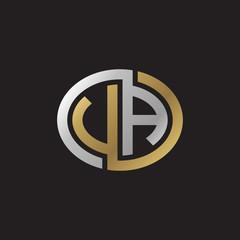Initial letter VA, UA, looping line, ellipse shape logo, silver gold color on black background