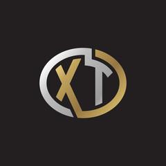 Initial letter XT, looping line, ellipse shape logo, silver gold color on black background