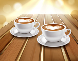 Latte And Cappuccino Coffee Illustration