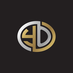 Initial letter YO, looping line, ellipse shape logo, silver gold color on black background