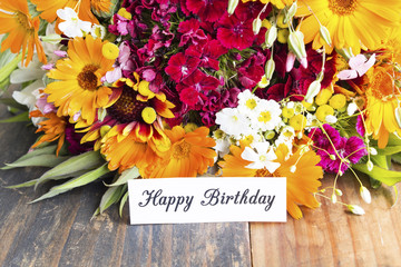 Happy Birthday Card with Spring Flowers