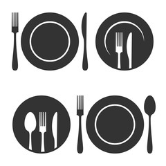 Plate with fork and knife icons set on white background