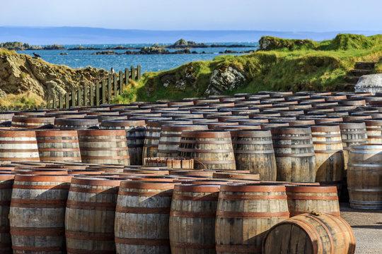 Scotch whisky barrels on the Island of Islay