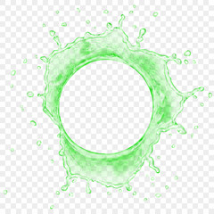 Top view of translucent water crown with drops in green colors, isolated on transparent background. Transparency only in vector file