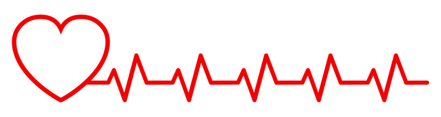 Red heart pulse, one line - stock vector