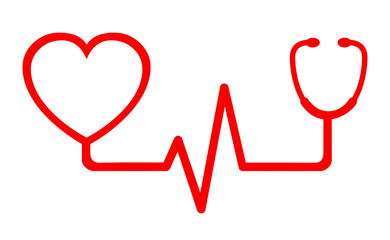 Sign red heart pulse icon, one line, cardiogram - vector