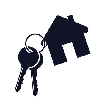 House with key icon - stock vector