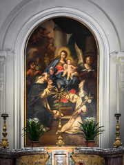Fototapete - Altar dedicated to the Virgin Mary with painting depicting the virgin with child Jesus.