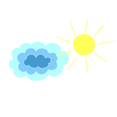 cartoon sketch sun and clouds