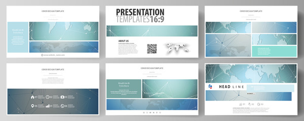 The minimalistic abstract vector illustration of the editable layout of high definition presentation slides design business templates. Chemistry pattern, connecting lines and dots. Medical concept.