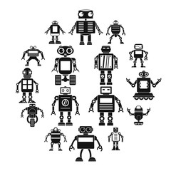 Robot icons set. Simple illustration of 16 robot vector icons for web