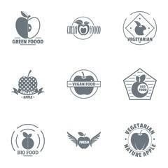 Bio food logo set. Simple set of 9 bio food vector logo for web isolated on white background